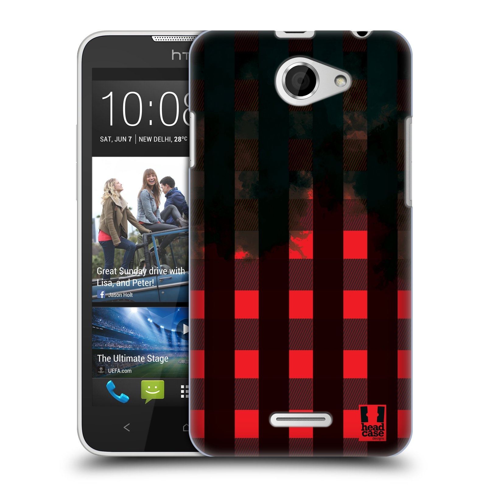 Plastové pouzdro na mobil HTC Desire 516 HEAD CASE FLANEL RED BLACK (Kryt či obal na mobilní telefon HTC Desire 516 Dual SIM)