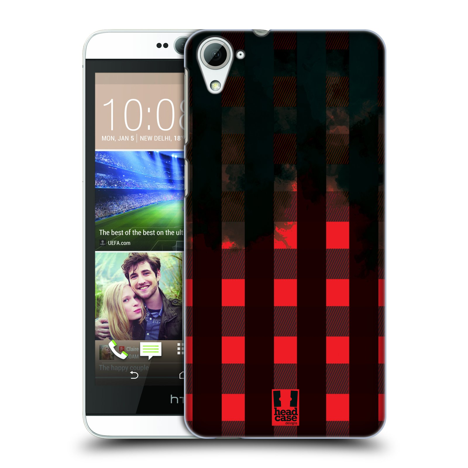 Plastové pouzdro na mobil HTC Desire 826 HEAD CASE FLANEL RED BLACK (Kryt či obal na mobilní telefon HTC Desire 826 Dual SIM)