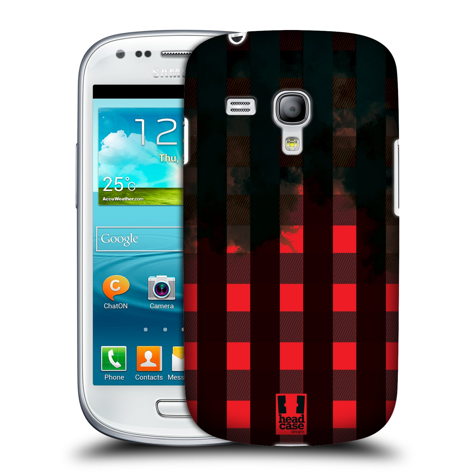 Plastové pouzdro na mobil Samsung Galaxy S3 Mini VE HEAD CASE FLANEL RED BLACK (Kryt či obal na mobilní telefon Samsung Galaxy S3 Mini VE GT-i8200)