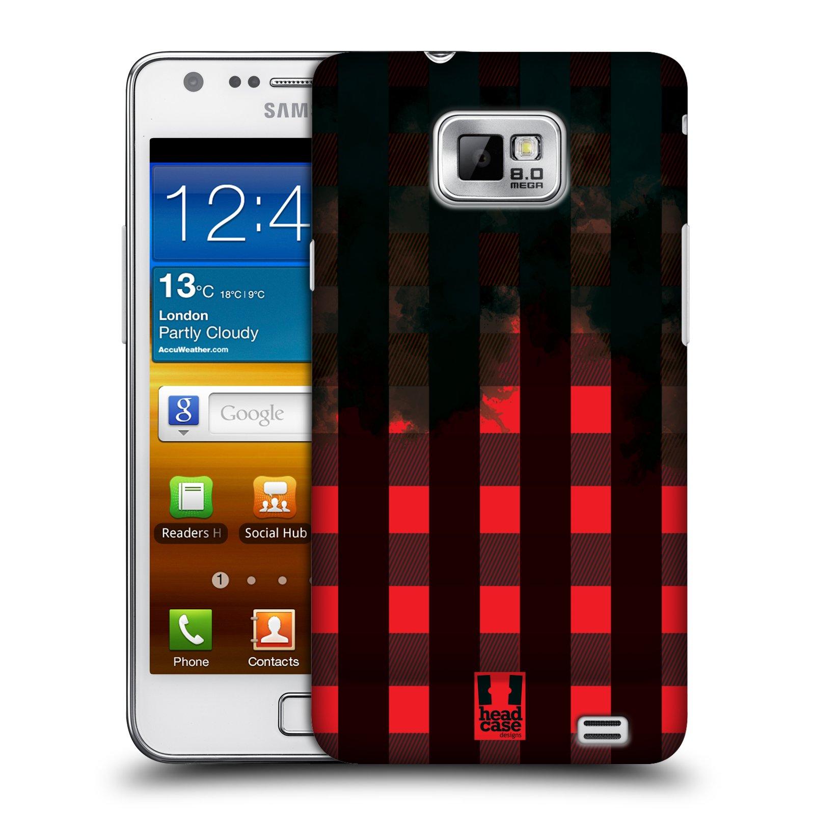 Plastové pouzdro na mobil Samsung Galaxy S II HEAD CASE FLANEL RED BLACK (Kryt či obal na mobilní telefon Samsung Galaxy S II GT-i9100)