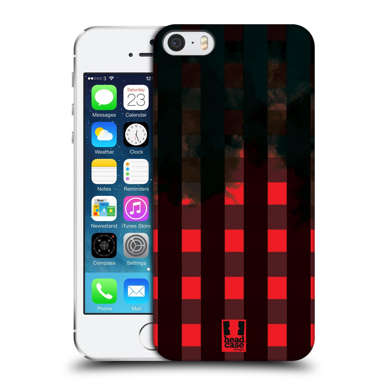 Plastové pouzdro na mobil Apple iPhone SE, 5 a 5S HEAD CASE FLANEL RED BLACK (Kryt či obal na mobilní telefon Apple iPhone SE, 5 a 5S)