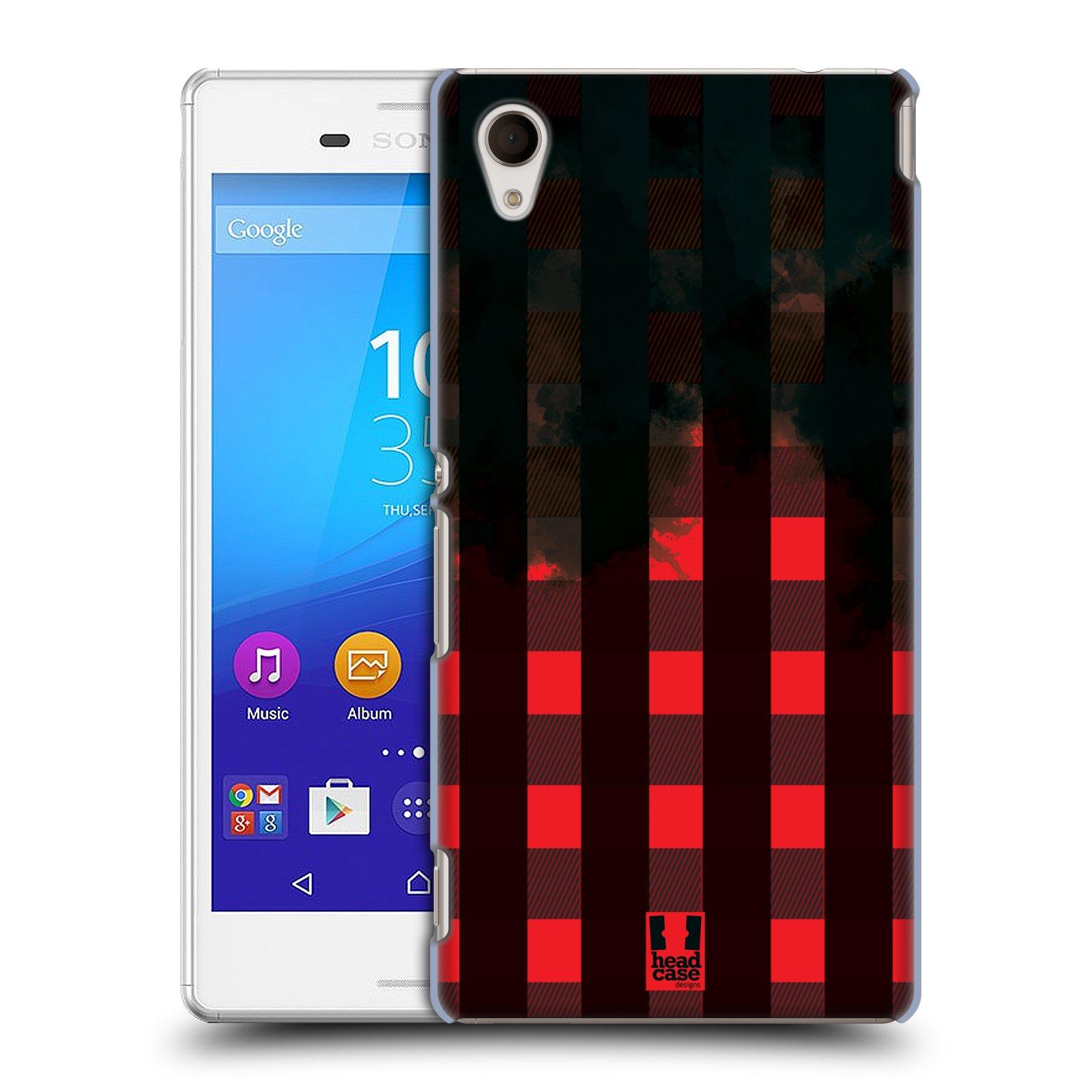 Plastové pouzdro na mobil Sony Xperia M4 Aqua E2303 HEAD CASE FLANEL RED BLACK (Kryt či obal na mobilní telefon Sony Xperia M4 Aqua a M4 Aqua Dual SIM)