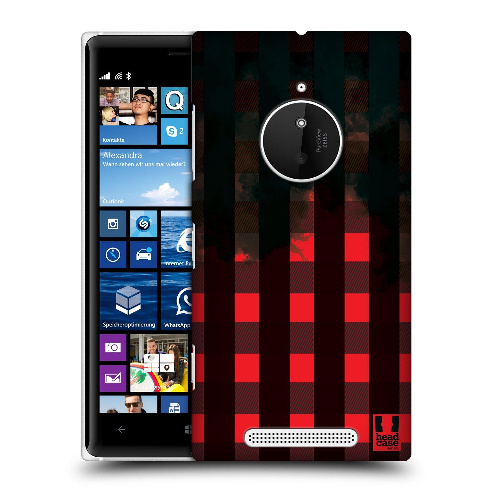 Plastové pouzdro na mobil Nokia Lumia 830 HEAD CASE FLANEL RED BLACK (Kryt či obal na mobilní telefon Nokia Lumia 830)