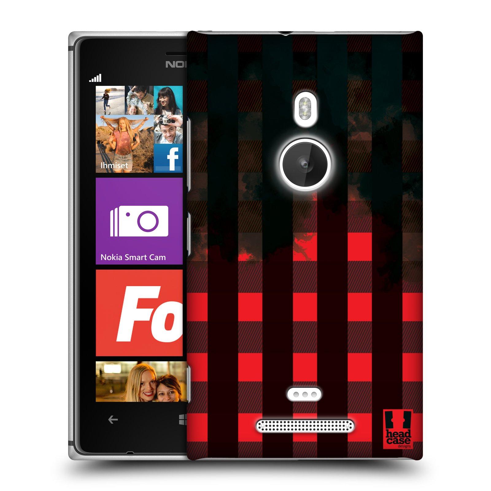 Plastové pouzdro na mobil Nokia Lumia 925 HEAD CASE FLANEL RED BLACK (Kryt či obal na mobilní telefon Nokia Lumia 925)