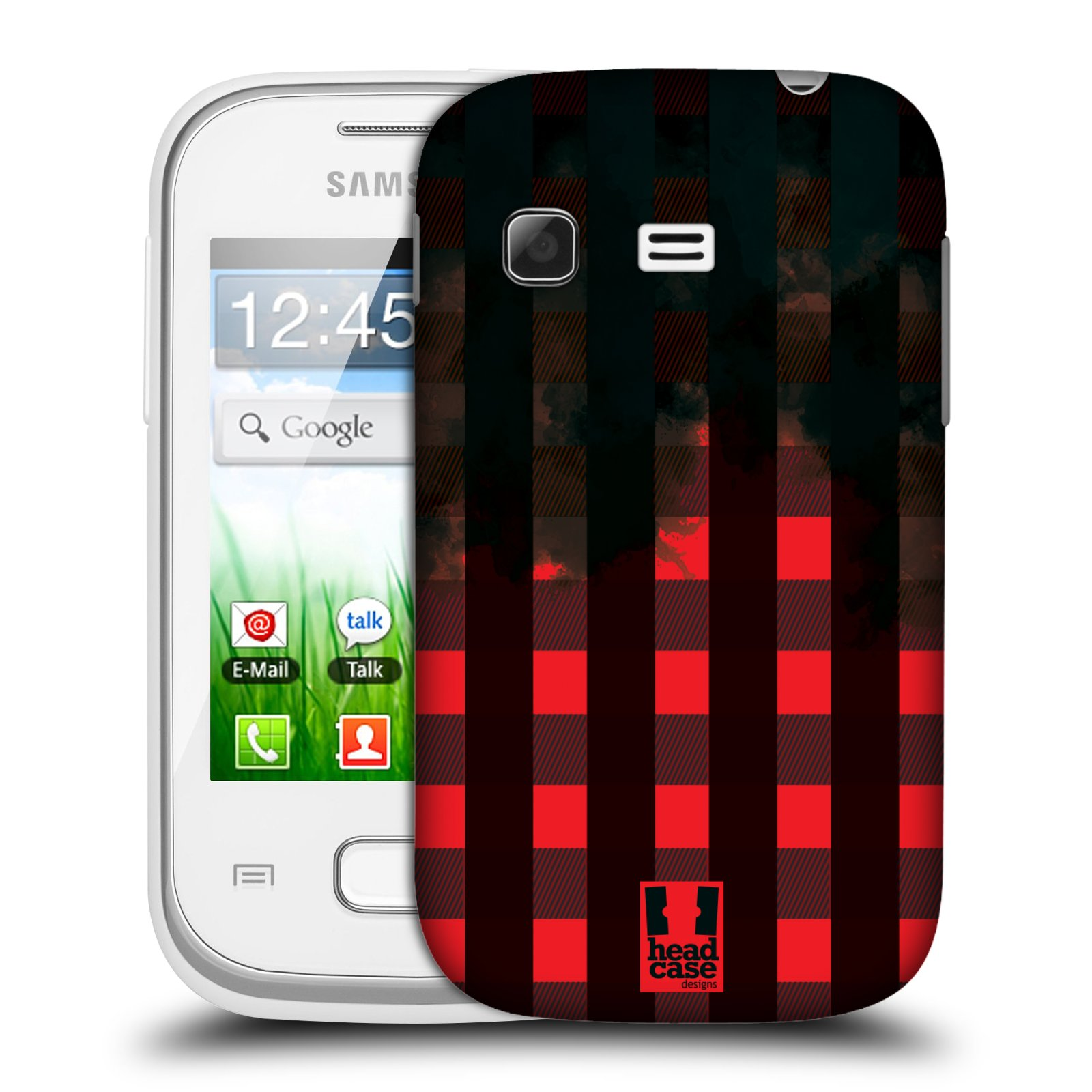Plastové pouzdro na mobil Samsung Galaxy Pocket HEAD CASE FLANEL RED BLACK (Kryt či obal na mobilní telefon Samsung Galaxy Pocket GT-S5300)
