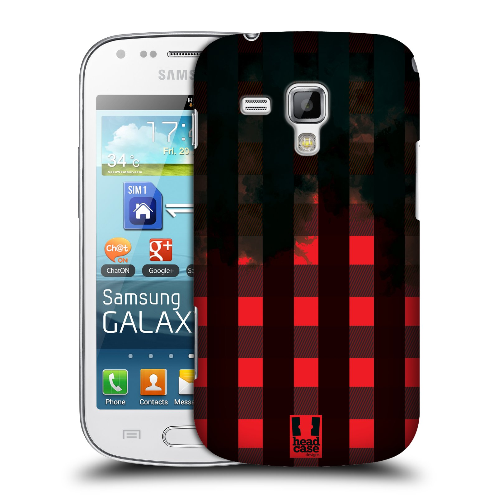 Plastové pouzdro na mobil Samsung Galaxy Trend HEAD CASE FLANEL RED BLACK (Kryt či obal na mobilní telefon Samsung Galaxy Trend GT-S7560)