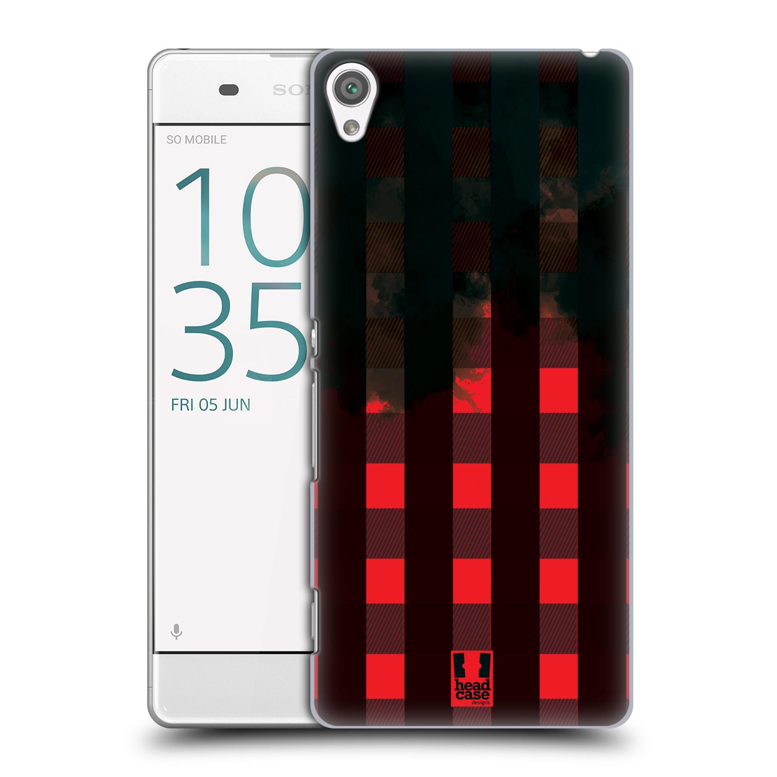 Plastové pouzdro na mobil Sony Xperia XA HEAD CASE FLANEL RED BLACK (Plastový kryt či obal na mobilní telefon Sony Xperia XA F3111 / Dual F3112)