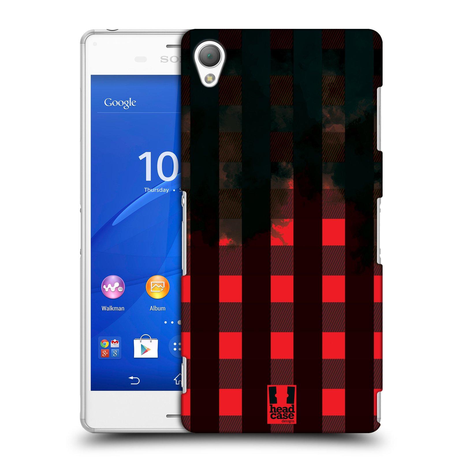 Plastové pouzdro na mobil Sony Xperia Z3 D6603 HEAD CASE FLANEL RED BLACK