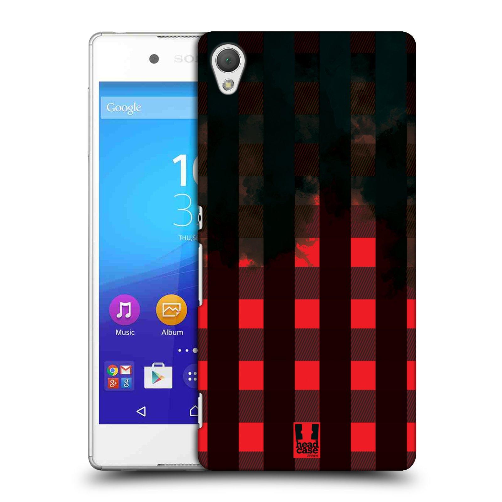 Plastové pouzdro na mobil Sony Xperia Z3+ (Plus) HEAD CASE FLANEL RED BLACK (Plastový kryt či obal na mobilní telefon Sony Xperia Z3+ (Plus))