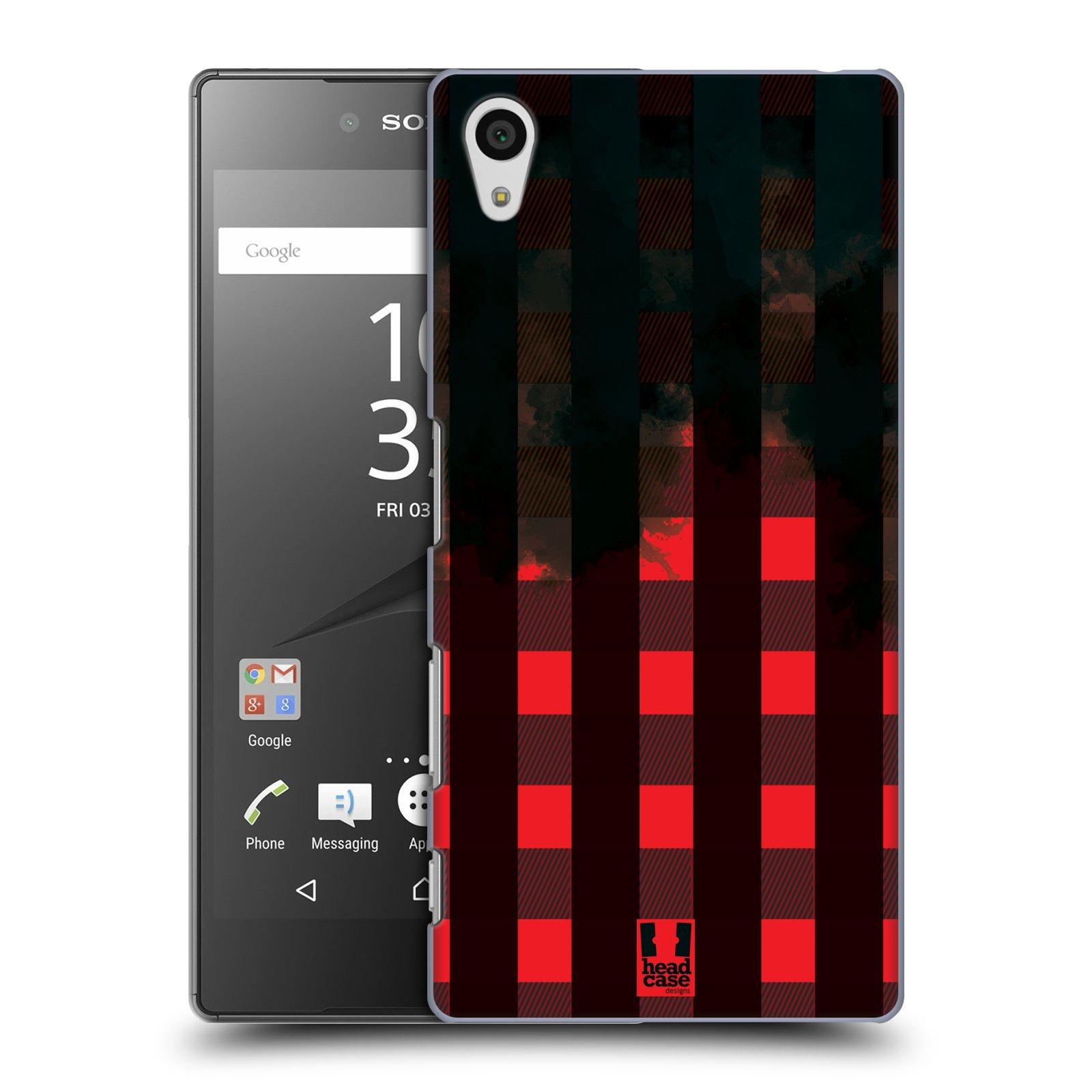 Plastové pouzdro na mobil Sony Xperia Z5 HEAD CASE FLANEL RED BLACK (Kryt či obal na mobilní telefon Sony Xperia Z5 E6653)