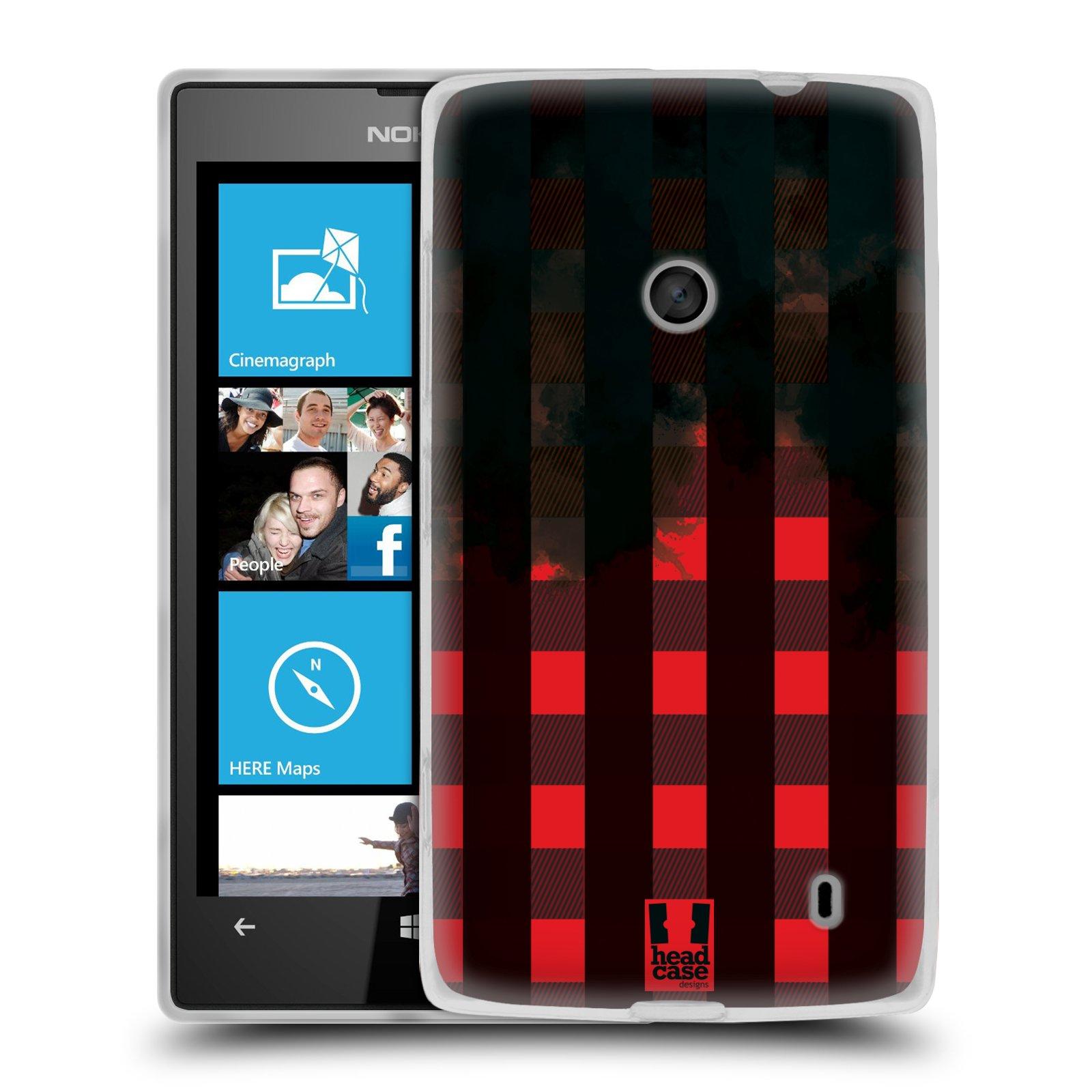 Silikonové pouzdro na mobil Nokia Lumia 520 HEAD CASE FLANEL RED BLACK (Silikonový Kryt či obal na mobilní telefon Nokia Lumia 520)