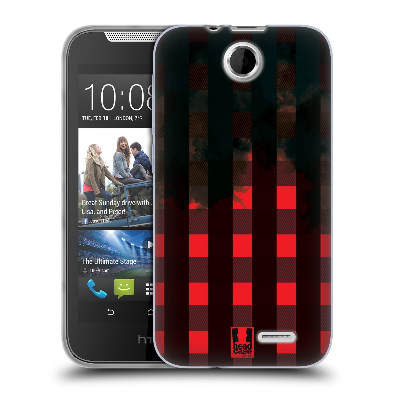 Silikonové pouzdro na mobil HTC Desire 310 HEAD CASE FLANEL RED BLACK (Silikonový kryt či obal na mobilní telefon HTC Desire 310)