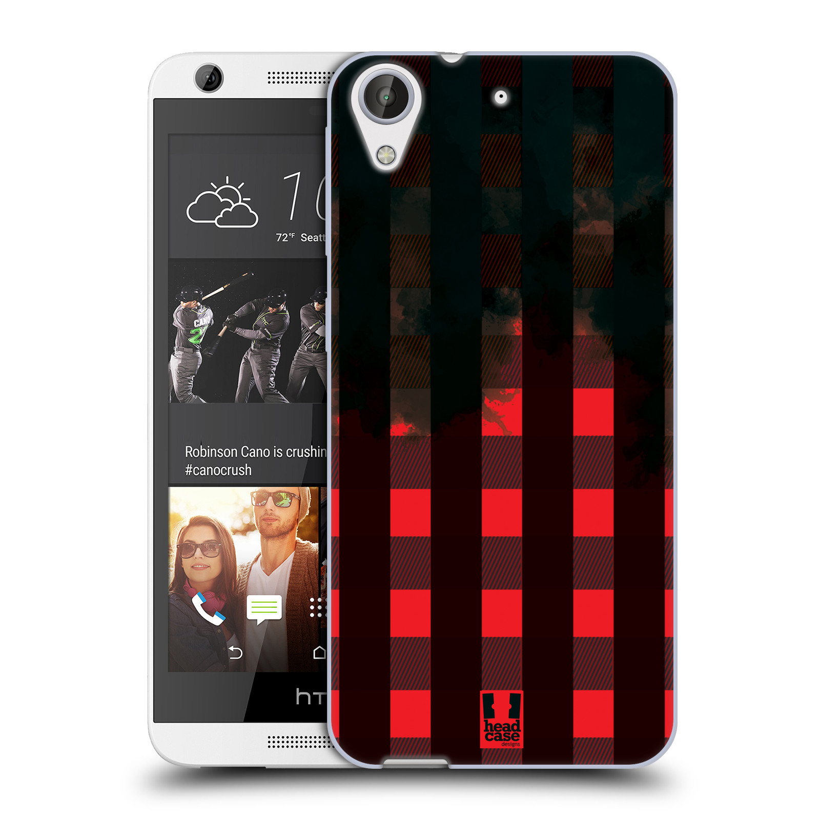 Silikonové pouzdro na mobil HTC Desire 626 / 626G HEAD CASE FLANEL RED BLACK (Silikonový kryt či obal na mobilní telefon HTC Desire 626 a 626G Dual SIM)