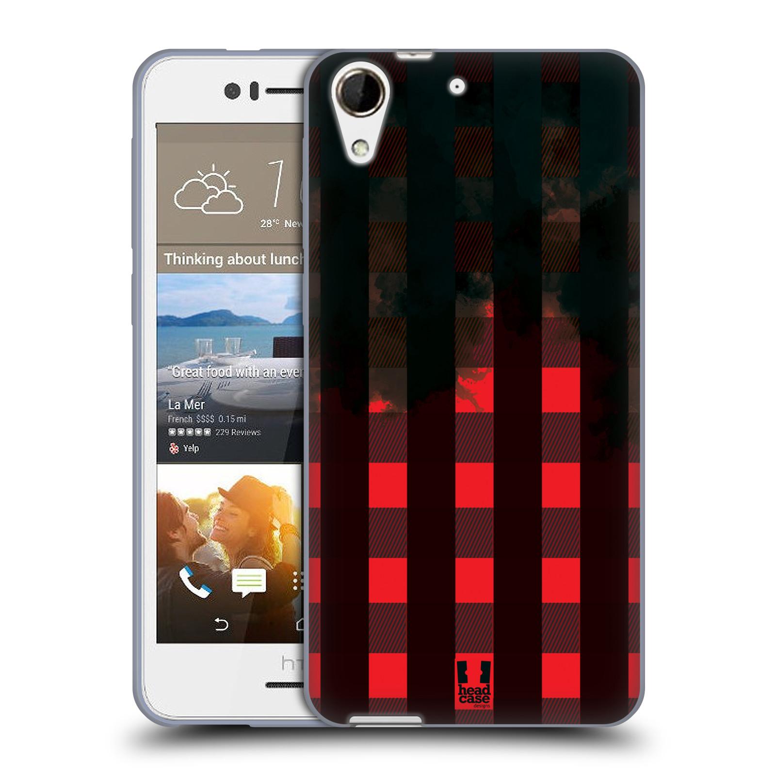 Silikonové pouzdro na mobil HTC Desire 728G Dual SIM HEAD CASE FLANEL RED BLACK (Silikonový kryt či obal na mobilní telefon HTC Desire 728 G Dual SIM)