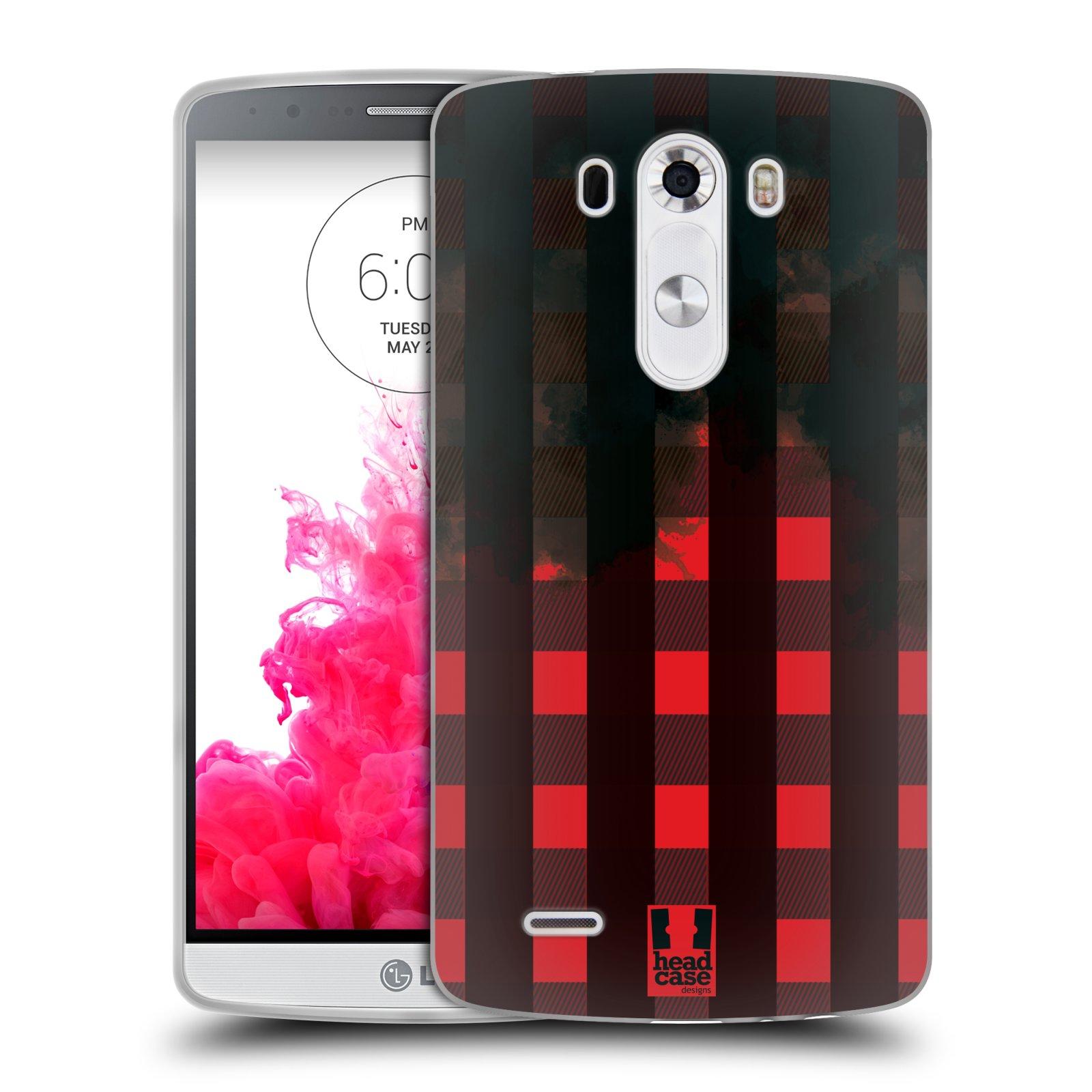 Silikonové pouzdro na mobil LG G3 HEAD CASE FLANEL RED BLACK (Silikonový kryt či obal na mobilní telefon LG G3 D855)