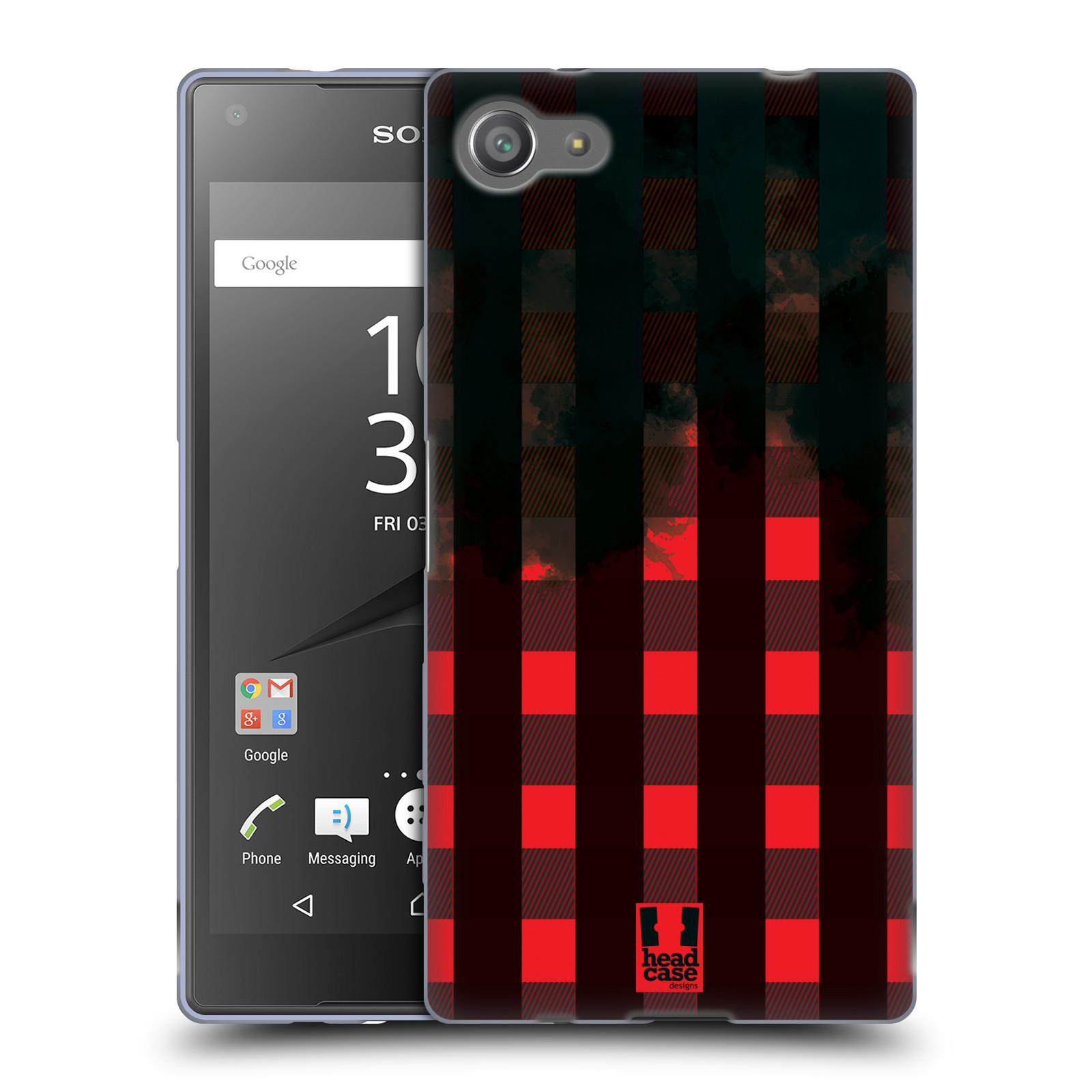 Silikonové pouzdro na mobil Sony Xperia Z5 Compact HEAD CASE FLANEL RED BLACK (Silikonový kryt či obal na mobilní telefon Sony Xperia Z5 Compact E5823)