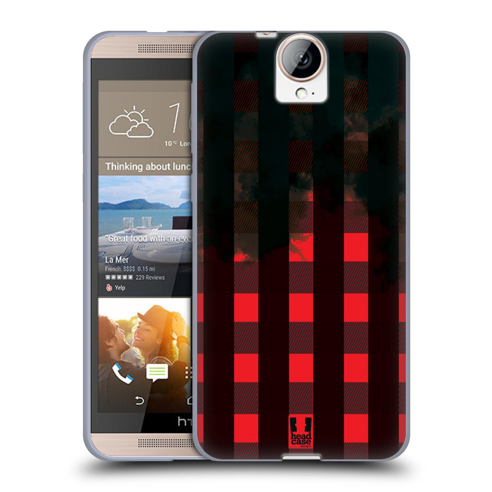 Silikonové pouzdro na mobil HTC One E9+(Plus) HEAD CASE FLANEL RED BLACK (Silikonový kryt či obal na mobilní telefon HTC One E9+)