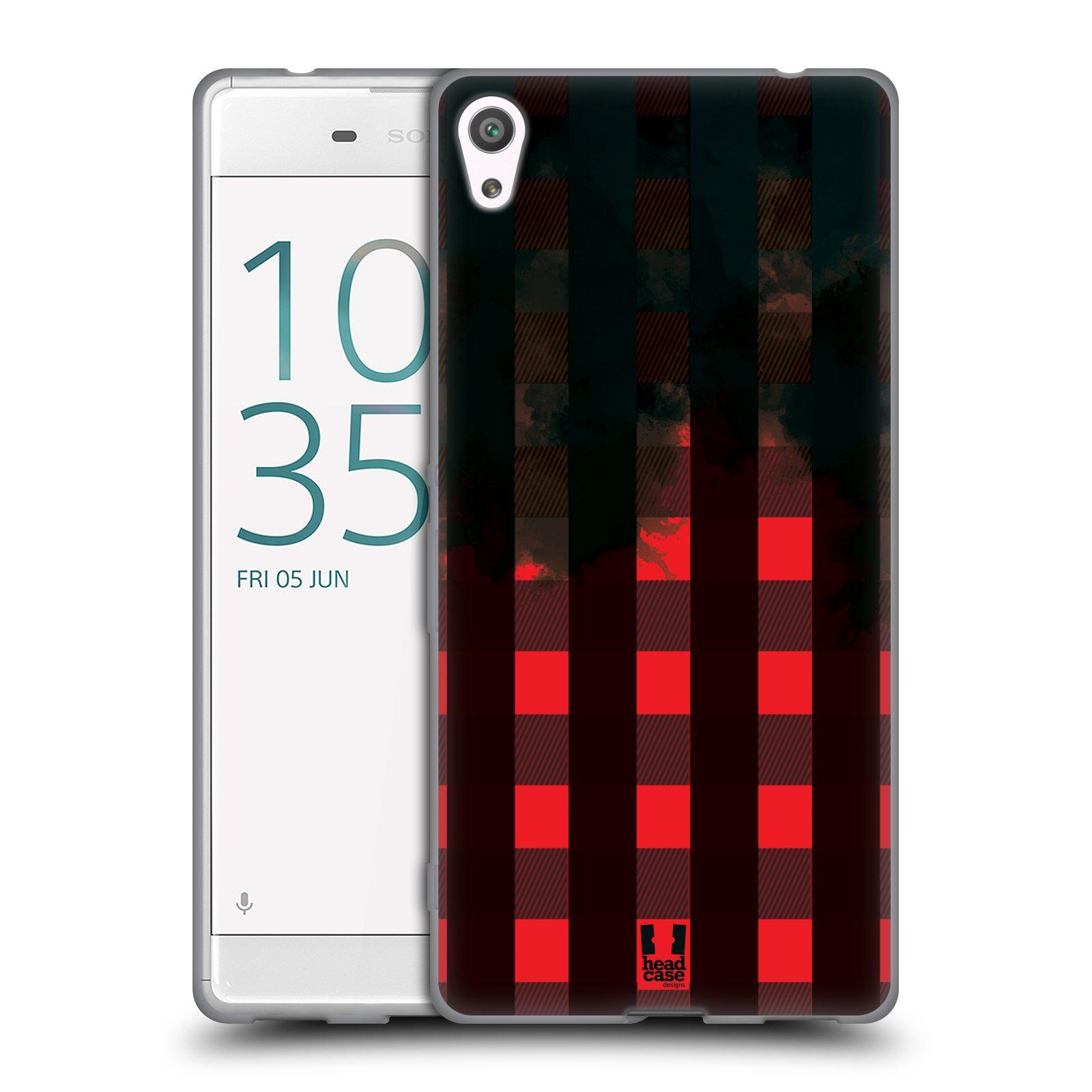 Silikonové pouzdro na mobil Sony Xperia XA Ultra HEAD CASE FLANEL RED BLACK (Silikonový kryt či obal na mobilní telefon Sony Xperia XA Ultra F3211)