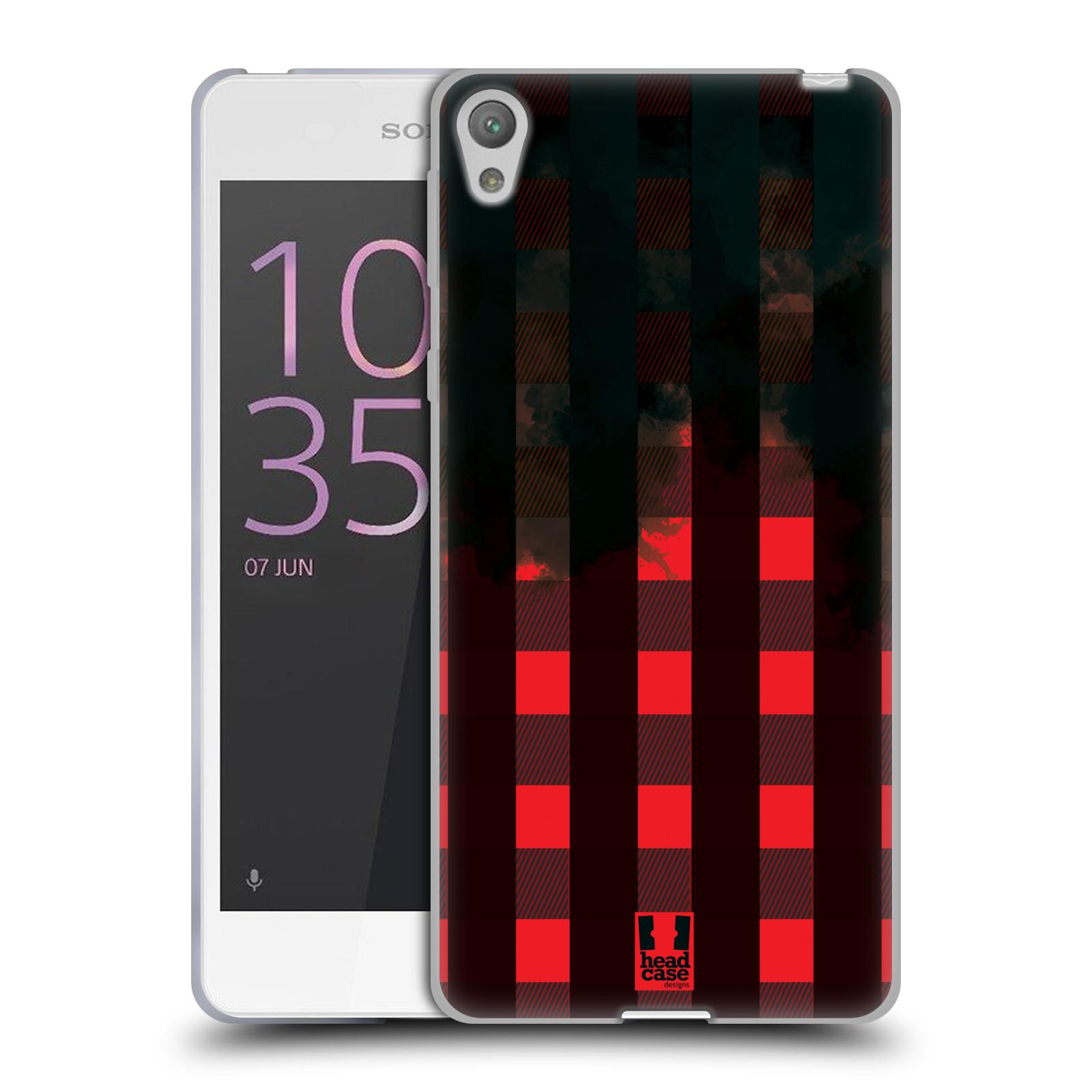 Silikonové pouzdro na mobil Sony Xperia E5 HEAD CASE FLANEL RED BLACK (Silikonový kryt či obal na mobilní telefon Sony Xperia E5 F3311)