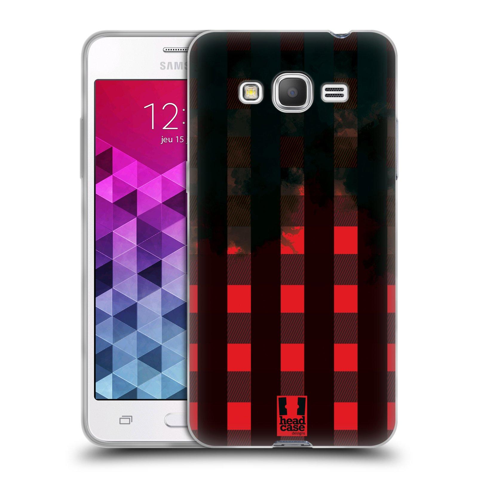 Silikonové pouzdro na mobil Samsung Galaxy Grand Prime HEAD CASE FLANEL RED BLACK