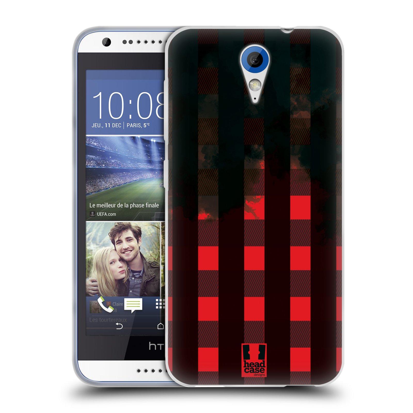 Silikonové pouzdro na mobil HTC Desire 620 HEAD CASE FLANEL RED BLACK (Silikonový kryt či obal na mobilní telefon HTC Desire 620)