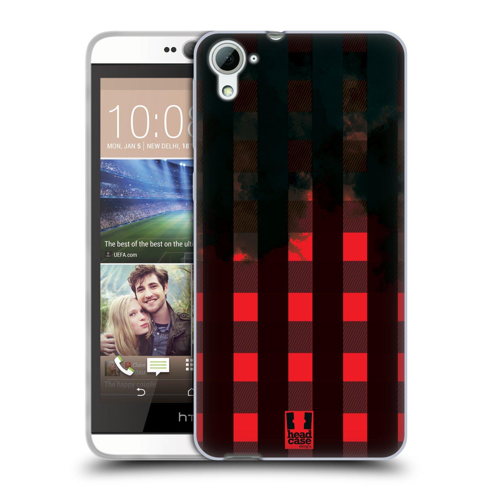 Silikonové pouzdro na mobil HTC Desire 826 HEAD CASE FLANEL RED BLACK (Silikonový kryt či obal na mobilní telefon HTC Desire 826 Dual SIM)