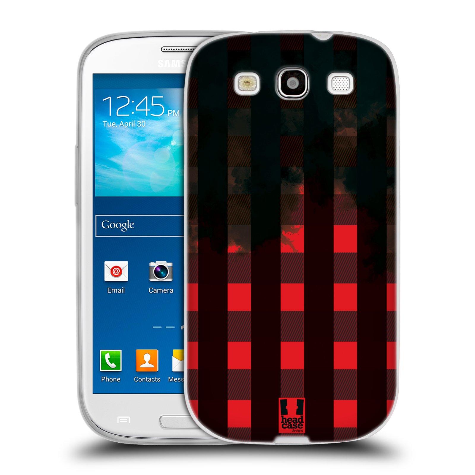 Silikonové pouzdro na mobil Samsung Galaxy S III HEAD CASE FLANEL RED BLACK (Silikonový kryt či obal na mobilní telefon Samsung Galaxy S III GT-i9300)