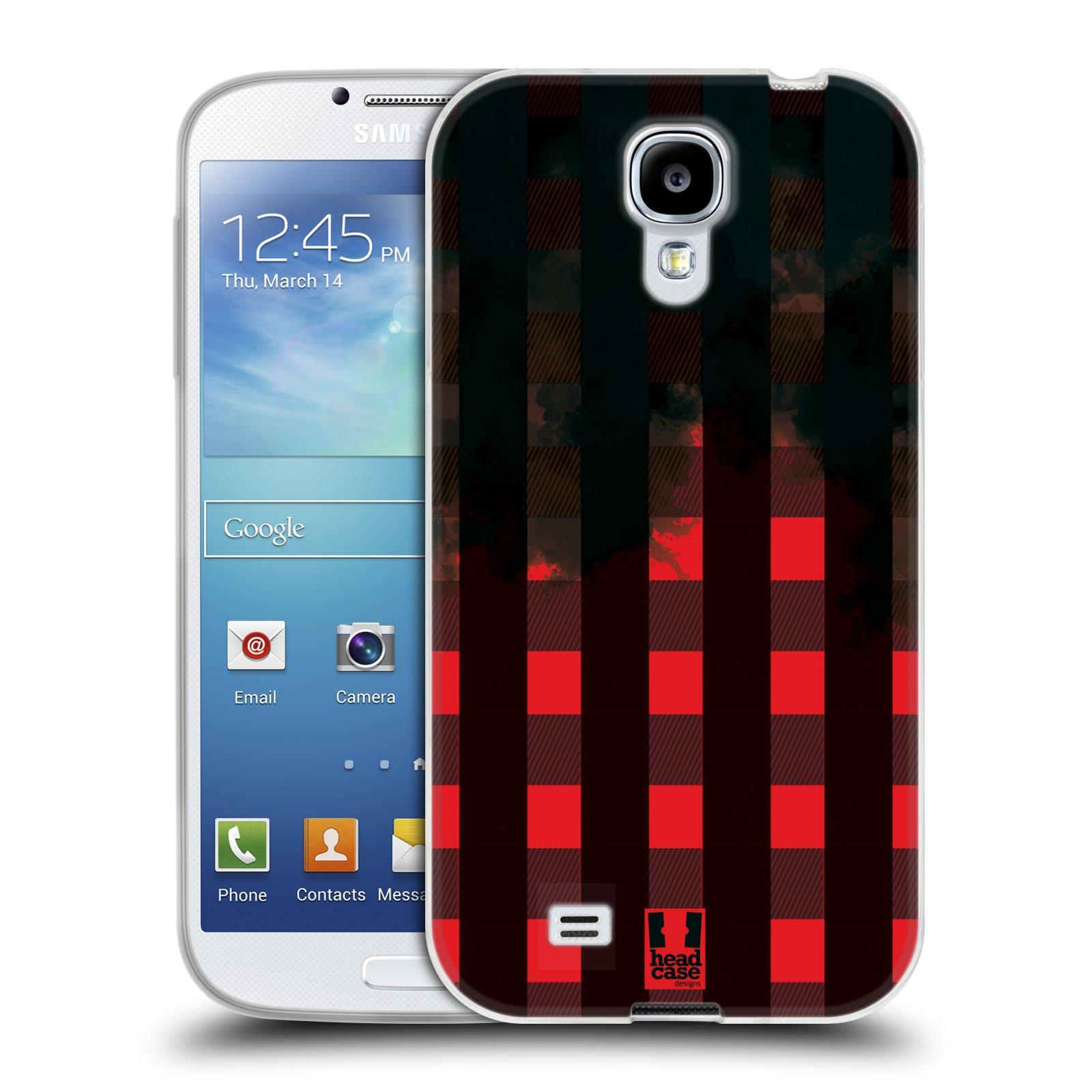 Silikonové pouzdro na mobil Samsung Galaxy S4 HEAD CASE FLANEL RED BLACK (Silikonový kryt či obal na mobilní telefon Samsung Galaxy S4 GT-i9505 / i9500)