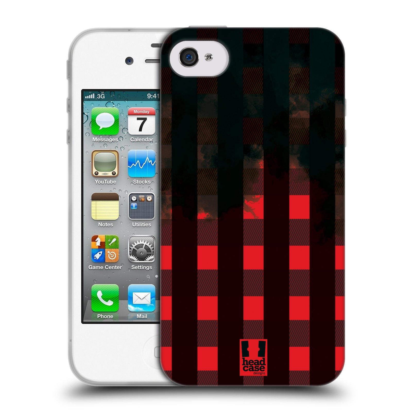 Silikonové pouzdro na mobil Apple iPhone 4 a 4S HEAD CASE FLANEL RED BLACK (Silikonový kryt či obal na mobilní telefon Apple iPhone 4 a 4S)