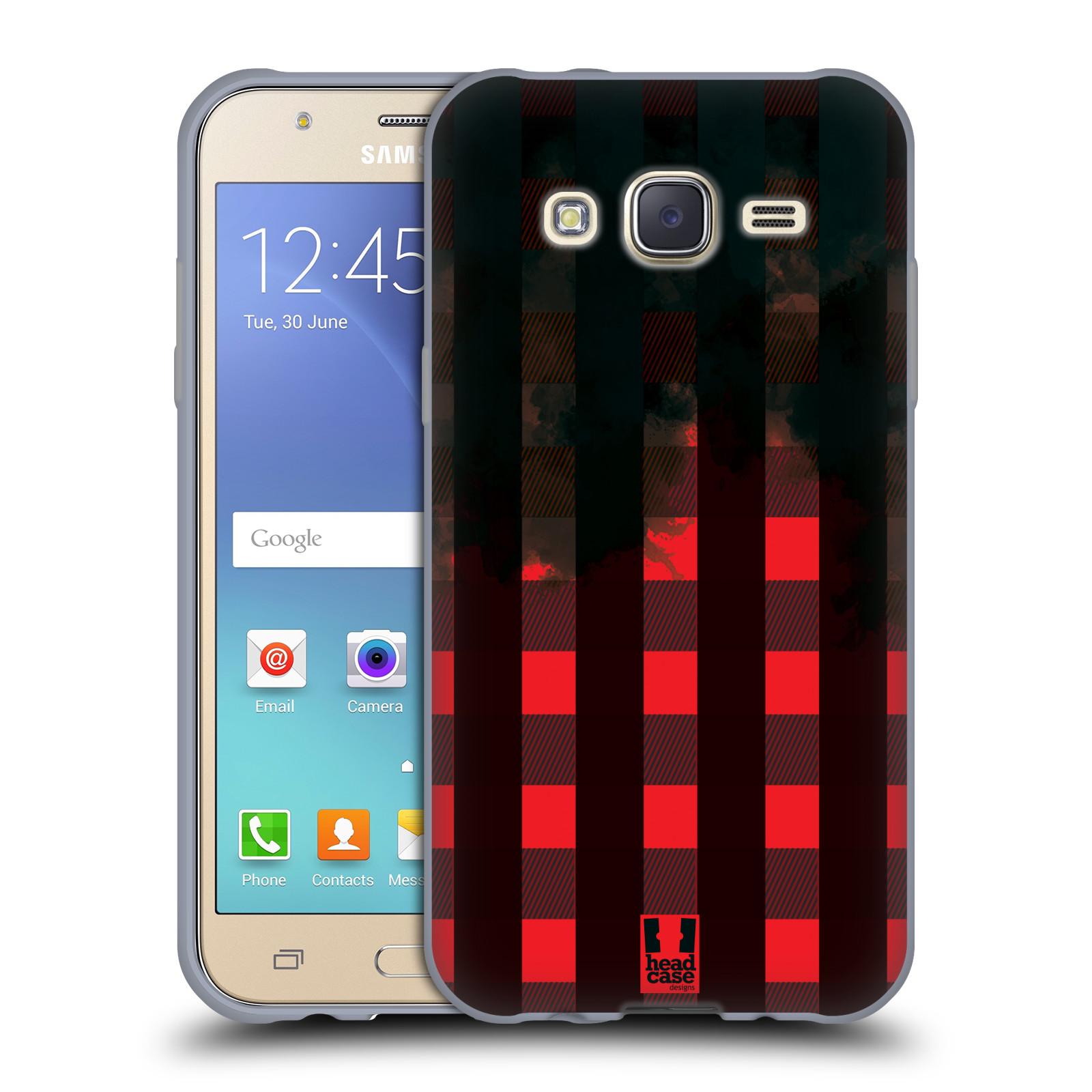 Silikonové pouzdro na mobil Samsung Galaxy J5 HEAD CASE FLANEL RED BLACK (Silikonový kryt či obal na mobilní telefon Samsung Galaxy Samsung Galaxy J5 SM-J500)