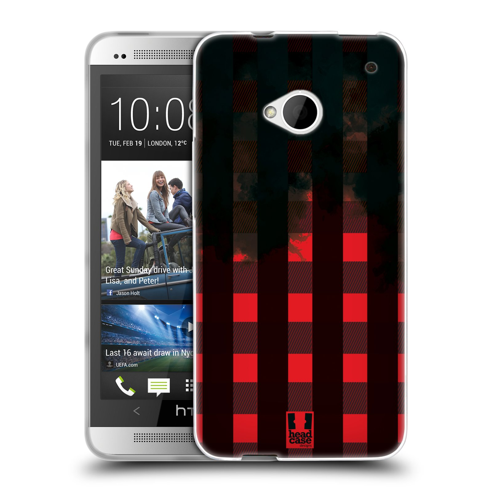 Silikonové pouzdro na mobil HTC ONE M7 HEAD CASE FLANEL RED BLACK (Silikonový kryt či obal na mobilní telefon HTC ONE M7)
