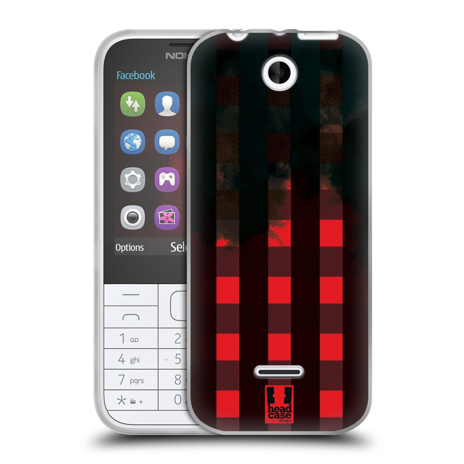 Silikonové pouzdro na mobil Nokia 225 HEAD CASE FLANEL RED BLACK (Silikonový kryt či obal na mobilní telefon Nokia 225)