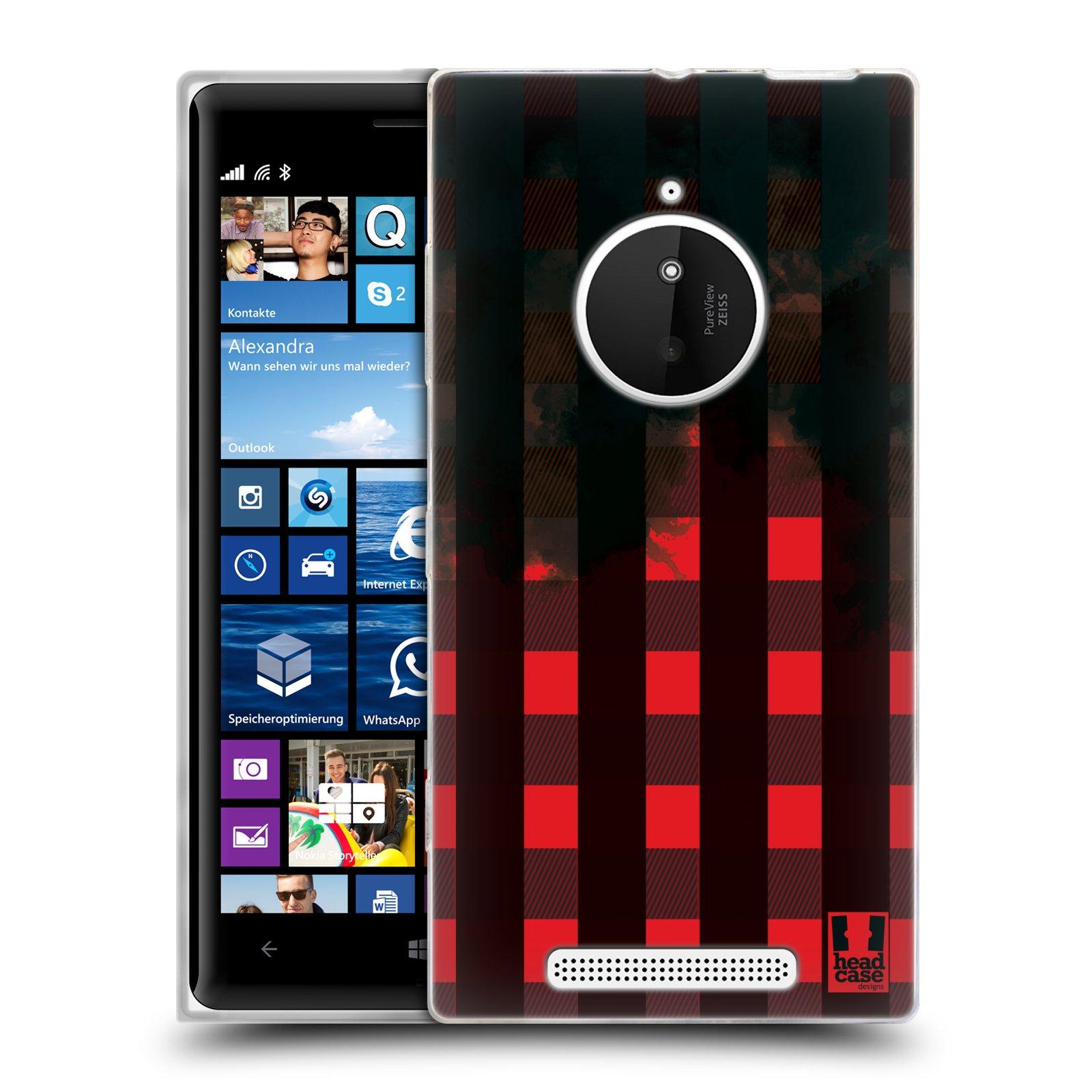 Silikonové pouzdro na mobil Nokia Lumia 830 HEAD CASE FLANEL RED BLACK (Silikonový kryt či obal na mobilní telefon Nokia Lumia 830)