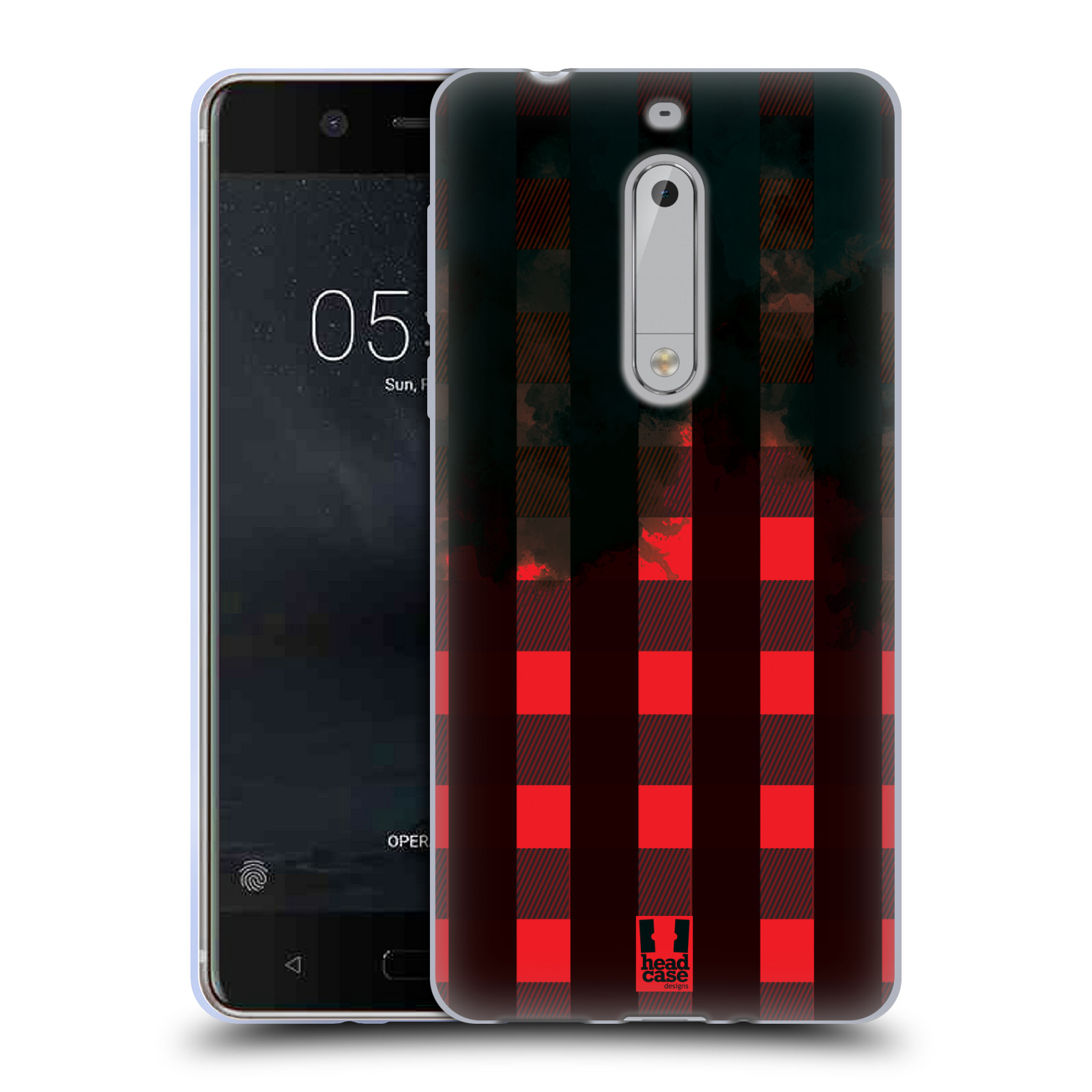 Silikonové pouzdro na mobil Nokia 5 Head Case - FLANEL RED BLACK