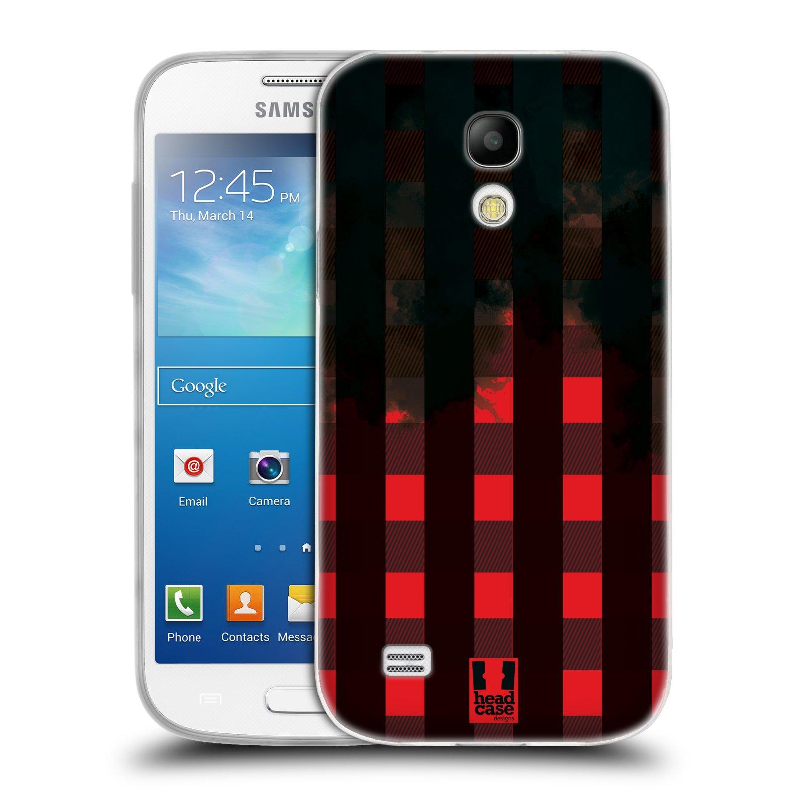 Silikonové pouzdro na mobil Samsung Galaxy S4 Mini HEAD CASE FLANEL RED BLACK (Silikonový kryt či obal na mobilní telefon Samsung Galaxy S4 Mini GT-i9195 / i9190 (nepasuje na verzi Black Edition))