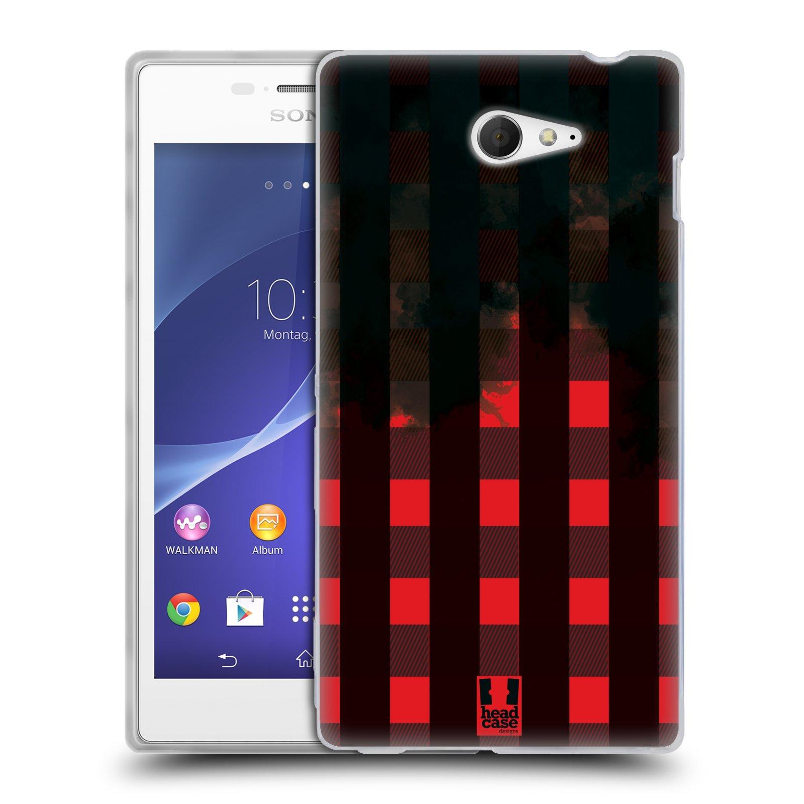 Silikonové pouzdro na mobil Sony Xperia M2 D2303 HEAD CASE FLANEL RED BLACK (Silikonový Kryt či obal na mobilní telefon Sony Xperia M2)