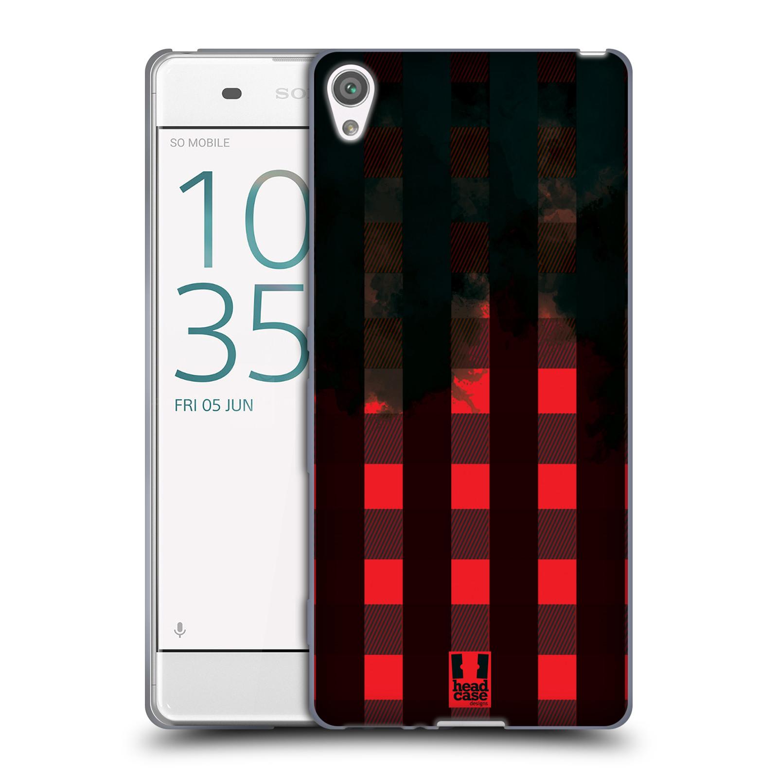 Silikonové pouzdro na mobil Sony Xperia XA HEAD CASE FLANEL RED BLACK (Silikonový kryt či obal na mobilní telefon Sony Xperia XA F3111 / Dual SIM F3112)