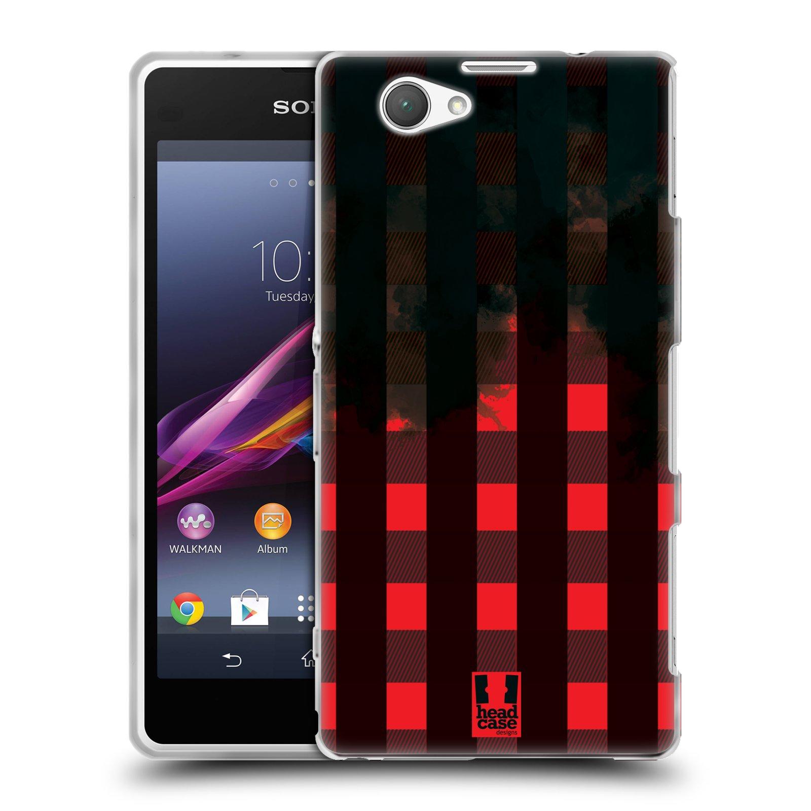Silikonové pouzdro na mobil Sony Xperia Z1 Compact D5503 HEAD CASE FLANEL RED BLACK (Silikonový kryt či obal na mobilní telefon Sony Xperia Z1 Compact)