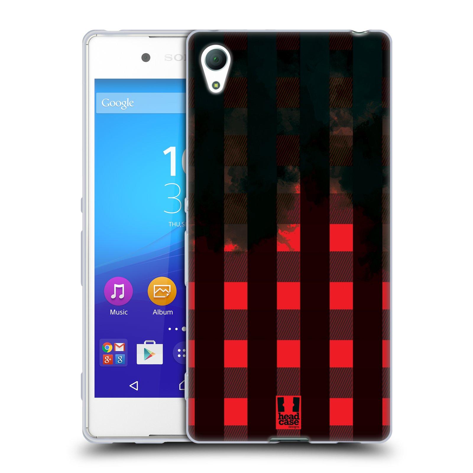 Silikonové pouzdro na mobil Sony Xperia Z3+ (Plus) HEAD CASE FLANEL RED BLACK (Silikonový kryt či obal na mobilní telefon Sony Xperia Z3+ / Z4 E6553)