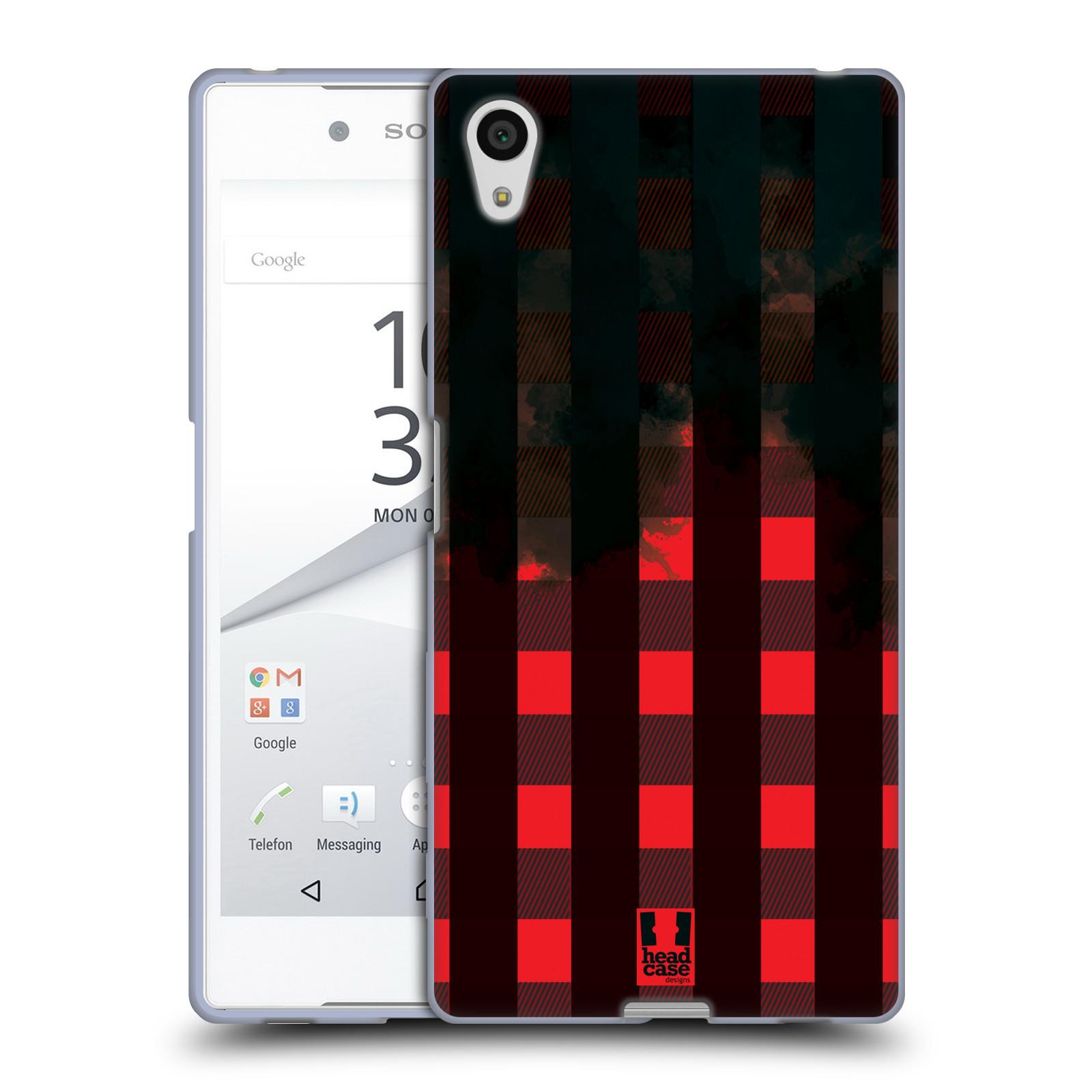 Silikonové pouzdro na mobil Sony Xperia Z5 HEAD CASE FLANEL RED BLACK (Silikonový kryt či obal na mobilní telefon Sony Xperia Z5 E6653)