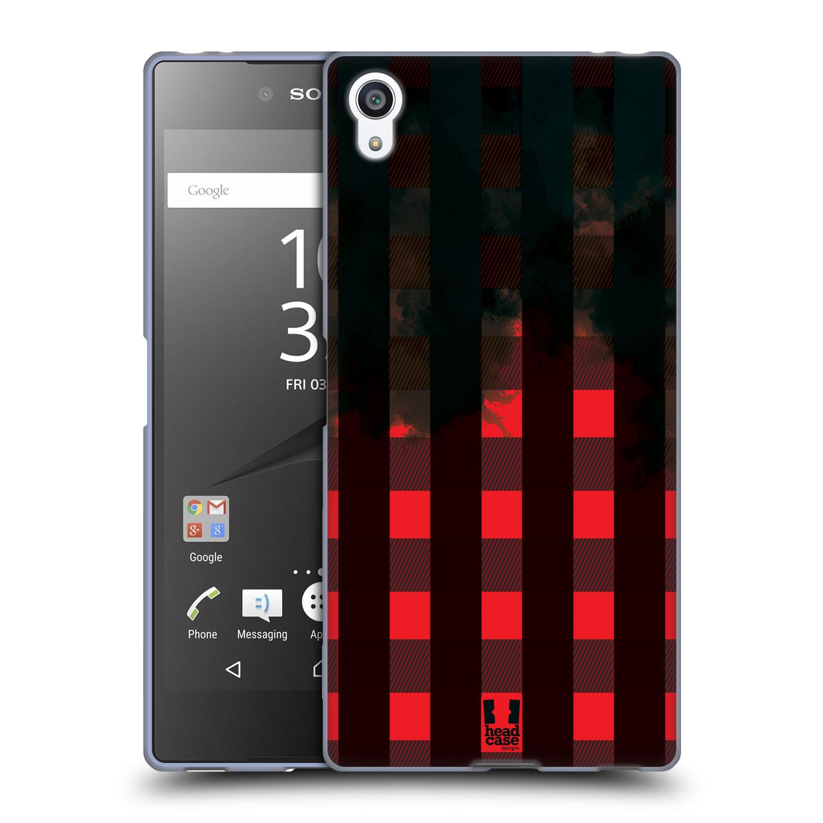 Silikonové pouzdro na mobil Sony Xperia Z5 Premium HEAD CASE FLANEL RED BLACK (Silikonový kryt či obal na mobilní telefon Sony Xperia Z5 Premium E6853)