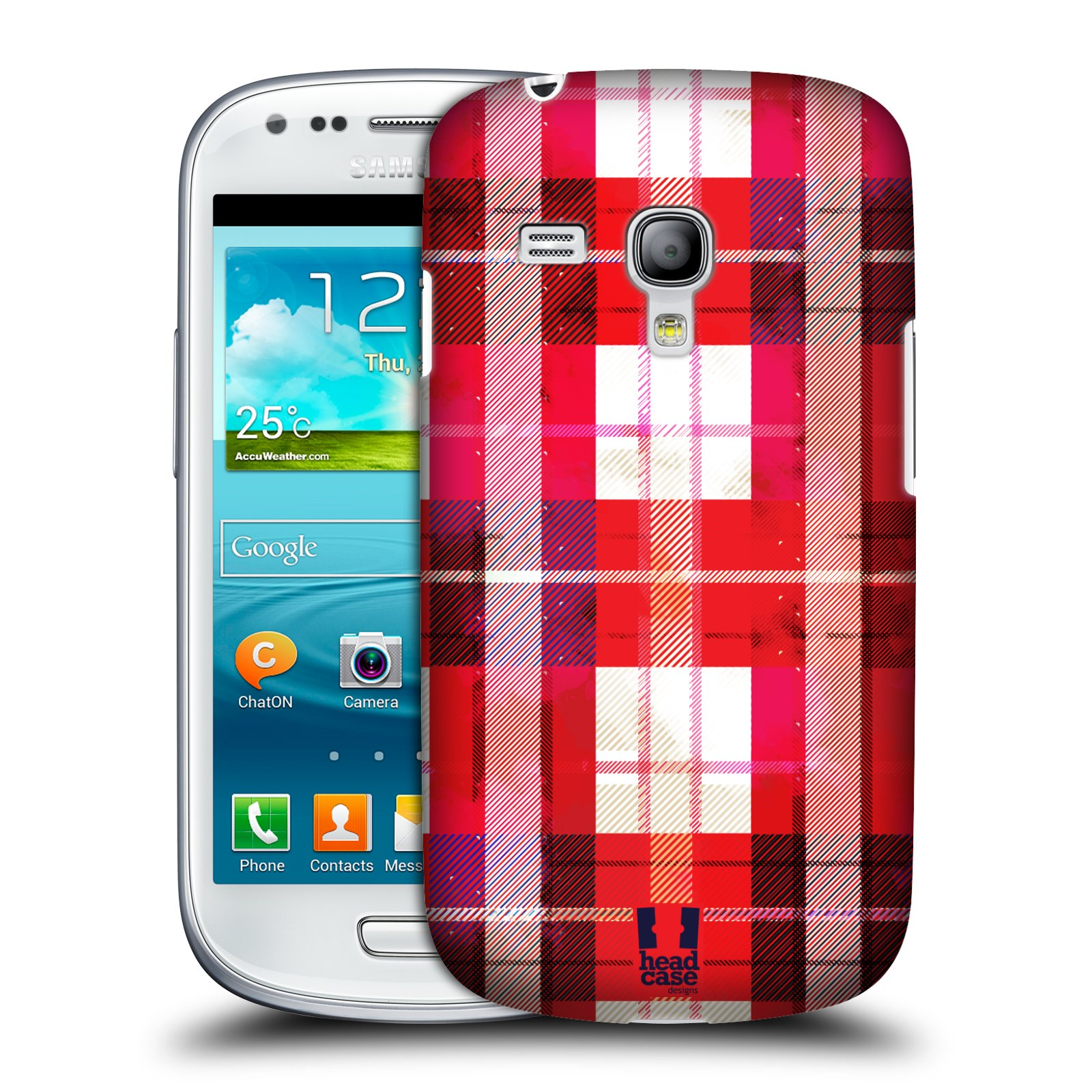 Plastové pouzdro na mobil Samsung Galaxy S3 Mini VE HEAD CASE FLANEL RED (Kryt či obal na mobilní telefon Samsung Galaxy S3 Mini VE GT-i8200)