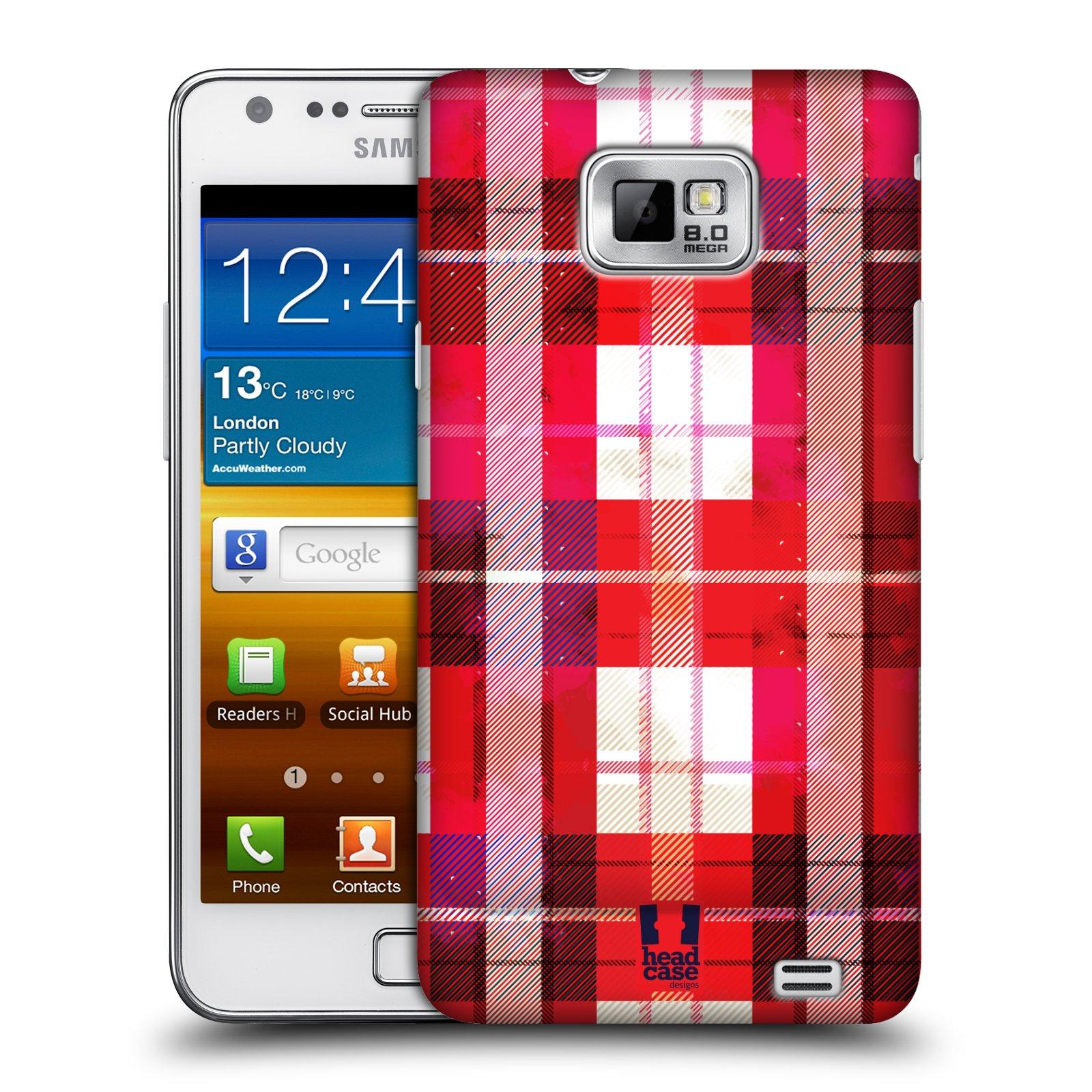 Plastové pouzdro na mobil Samsung Galaxy S II HEAD CASE FLANEL RED (Kryt či obal na mobilní telefon Samsung Galaxy S II GT-i9100)