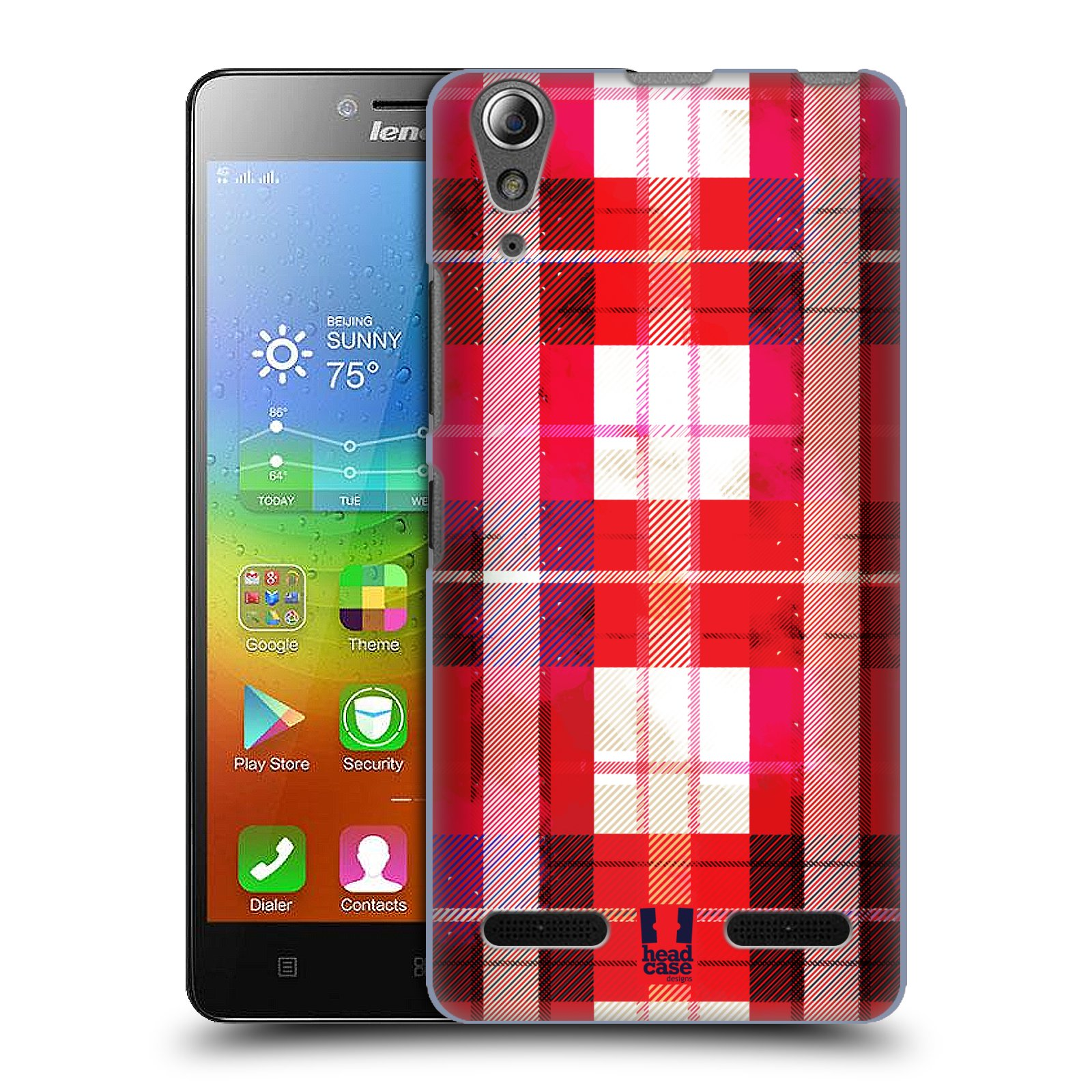 Plastové pouzdro na mobil Lenovo A6000 HEAD CASE FLANEL RED (Kryt či obal na mobilní telefon Lenovo A6000 / A6000 Plus)