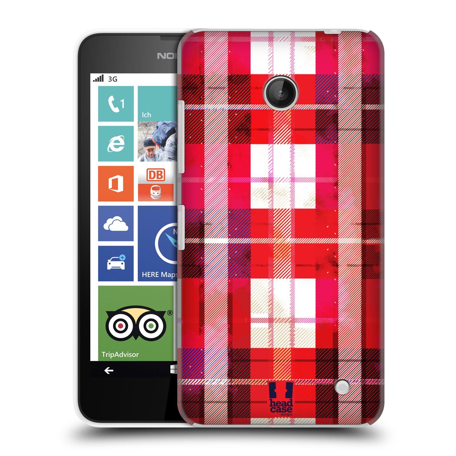 Plastové pouzdro na mobil Nokia Lumia 630 HEAD CASE FLANEL RED (Kryt či obal na mobilní telefon Nokia Lumia 630 a Nokia Lumia 630 Dual SIM)