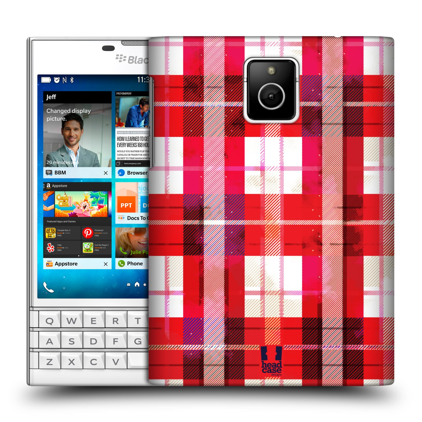 Plastové pouzdro na mobil Blackberry PASSPORT HEAD CASE FLANEL RED (Kryt či obal na mobilní telefon Blackberry PASSPORT)