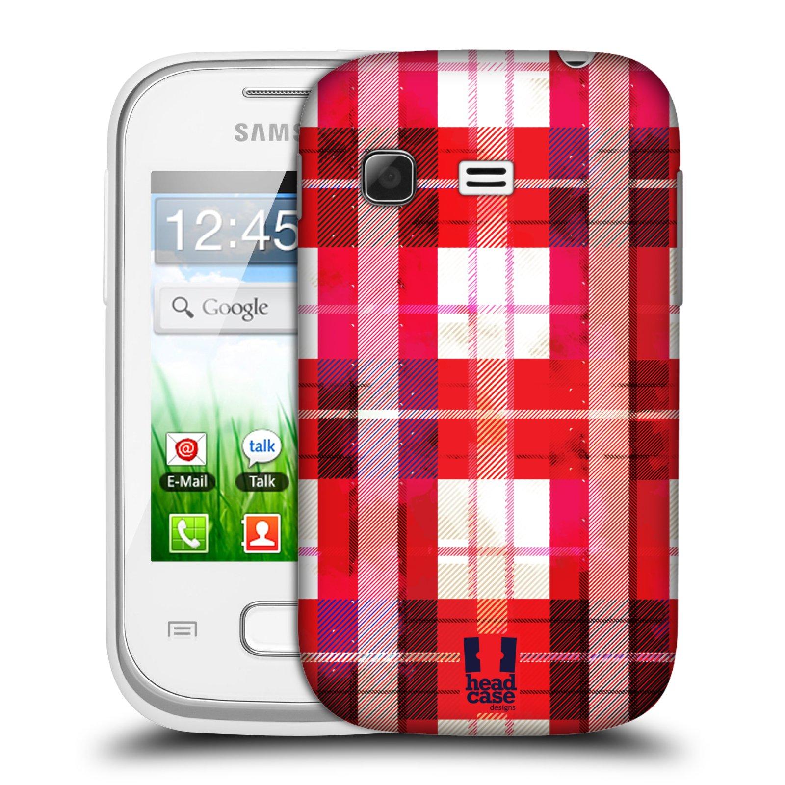 Plastové pouzdro na mobil Samsung Galaxy Pocket HEAD CASE FLANEL RED (Kryt či obal na mobilní telefon Samsung Galaxy Pocket GT-S5300)