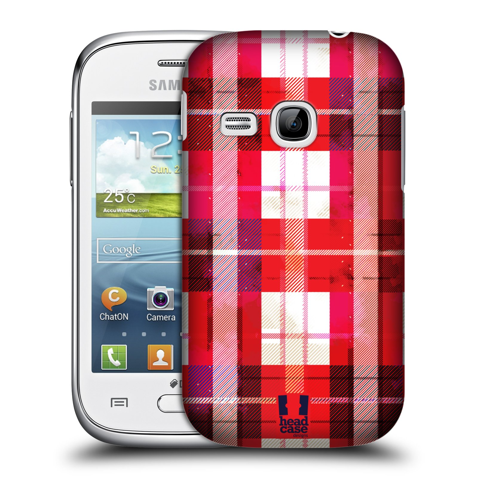 Plastové pouzdro na mobil Samsung Galaxy Young HEAD CASE FLANEL RED (Kryt či obal na mobilní telefon Samsung Galaxy Young GT-S6310)