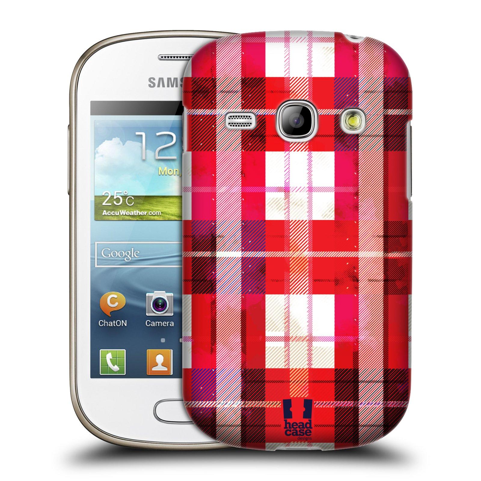 Plastové pouzdro na mobil Samsung Galaxy Fame HEAD CASE FLANEL RED (Kryt či obal na mobilní telefon Samsung Galaxy Fame GT-S6810)