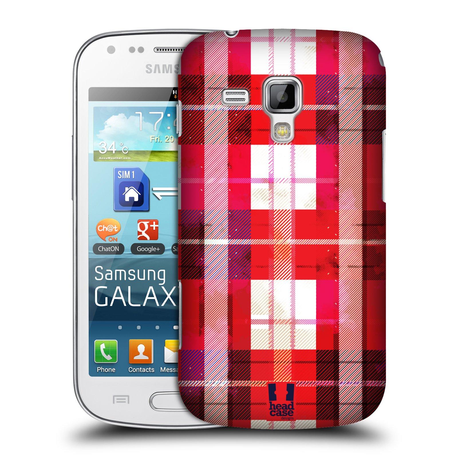 Plastové pouzdro na mobil Samsung Galaxy Trend HEAD CASE FLANEL RED (Kryt či obal na mobilní telefon Samsung Galaxy Trend GT-S7560)